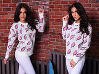 Женский стильный вязаный свитер Мороженое, лонгслив, свитшот с ярким принтом - рисунком. Размер единый 42-48. , фото 1