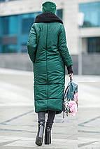 Женский зимний зеленый пуховик-одеяло с вязаным воротником 42-50 р., фото 2