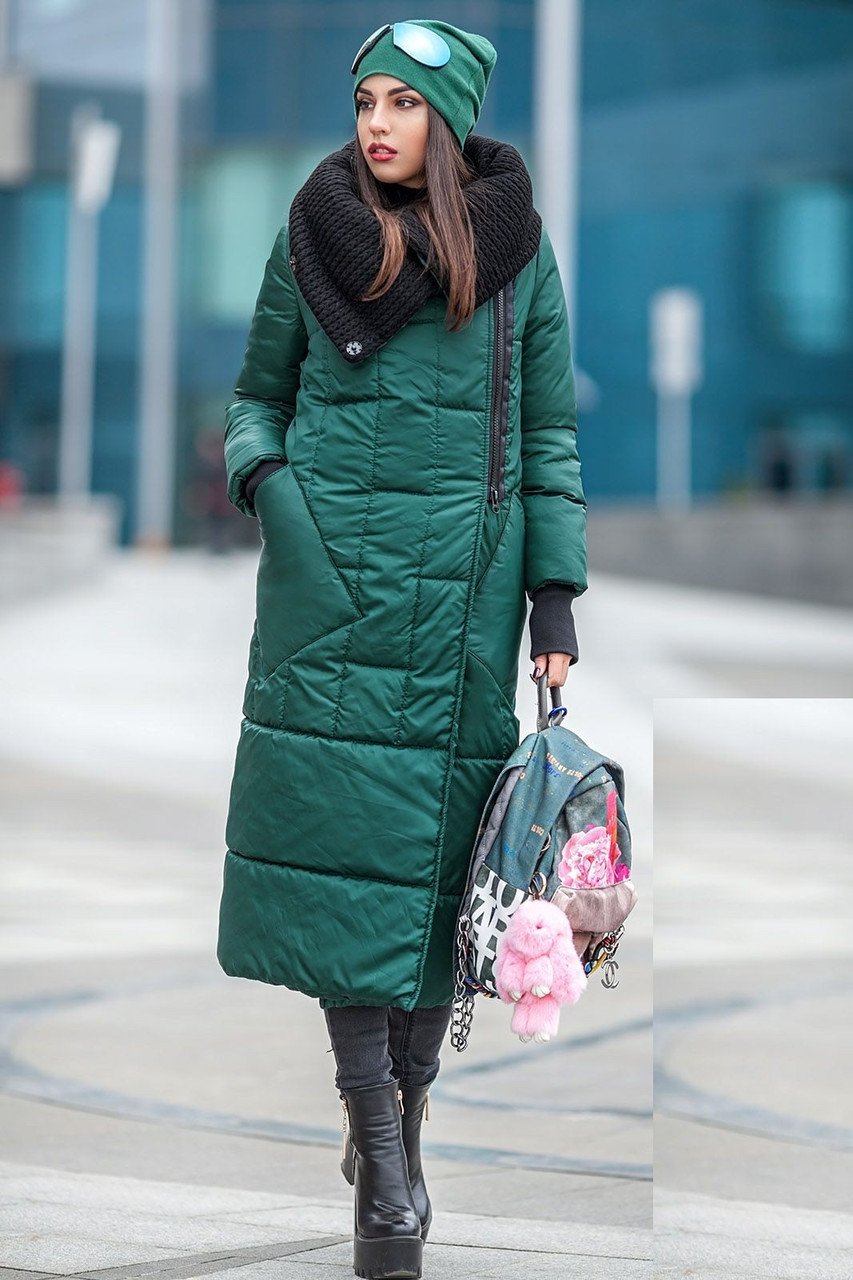Женский зимний зеленый пуховик-одеяло с вязаным воротником 42-50 р.