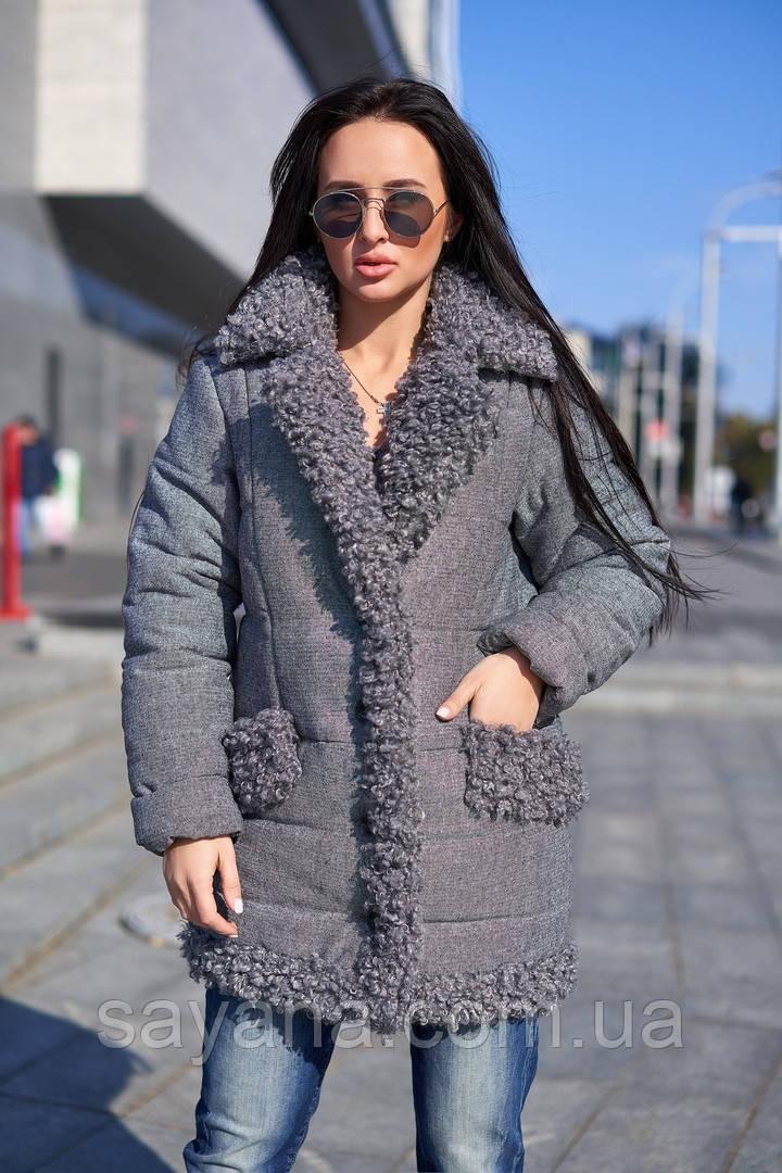 Женская куртка с декором из искусственного меха барашка. А-1-1118