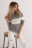 Стильный вязаный  женский свитер - лонгслив с широкой полосой. Размер норма единый 42-48. , фото 1