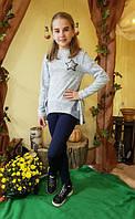 Батник для девочки на завязках с клеточкой размер 128-152 серый, фото 1