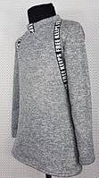 ТЕПЛАЯ Туника для девочки 128-146 серый, фото 1