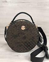 Круглая маленькая женская сумка золотистая через плечо молодежная кросс-боди 32305, фото 1