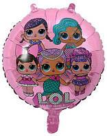 Шар фольгированный круглый Куклы Лол