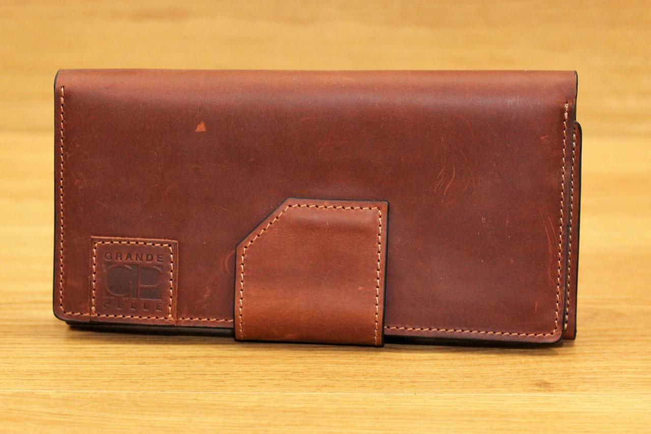 Портмоне из плотной натуральной кожи коричневого цвета Grande Pelle (14186)