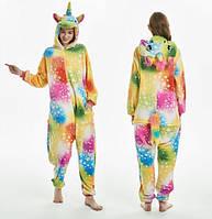 Пижама кигуруми женская и мужская Единорог разноцветный