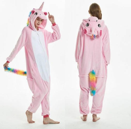 Пижама кигуруми женская и мужская Единорог бледно-розовый fd827a58bc3e3