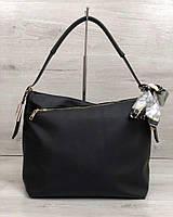 Черная сумка-мешок 56003 шоппер на плечо с ручкой, фото 1