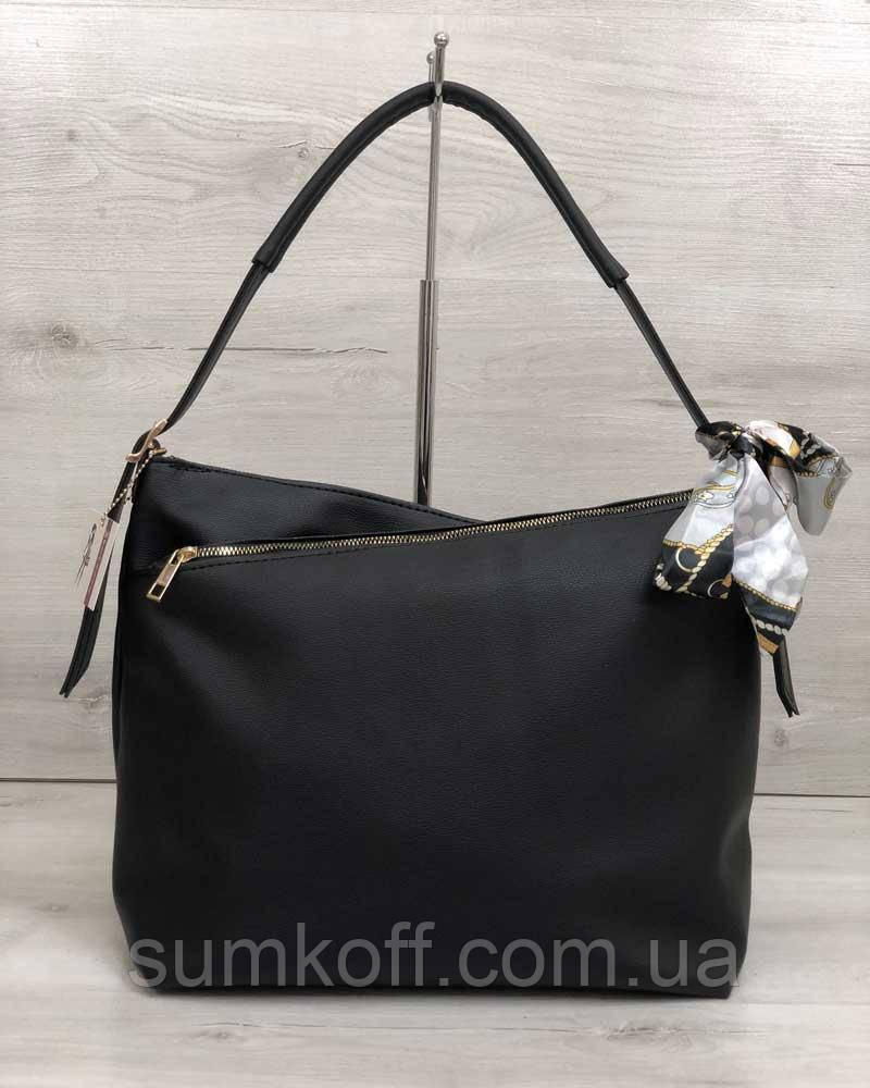 ca97d2d3f06e Черная сумка-мешок 56003 шоппер на плечо с ручкой - Интернет магазин сумок  SUMKOFF -