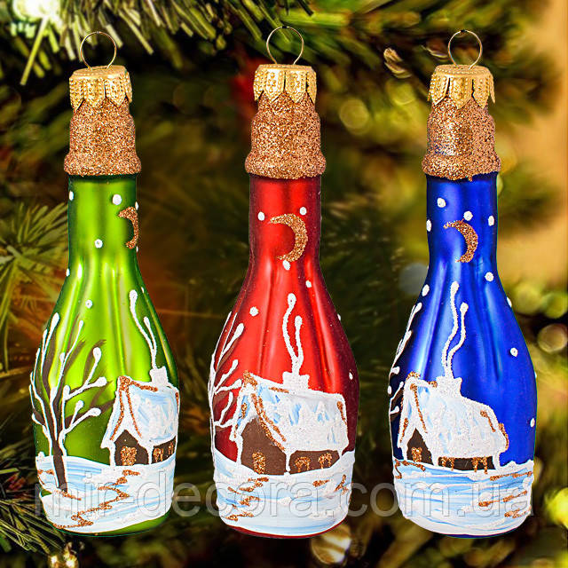"""Новогодний декор на елку """"Шампанское"""". Высота 10 см."""