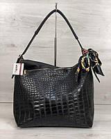 Сумка-мешок черная 56002 шоппер через плечо под крокодила, фото 1