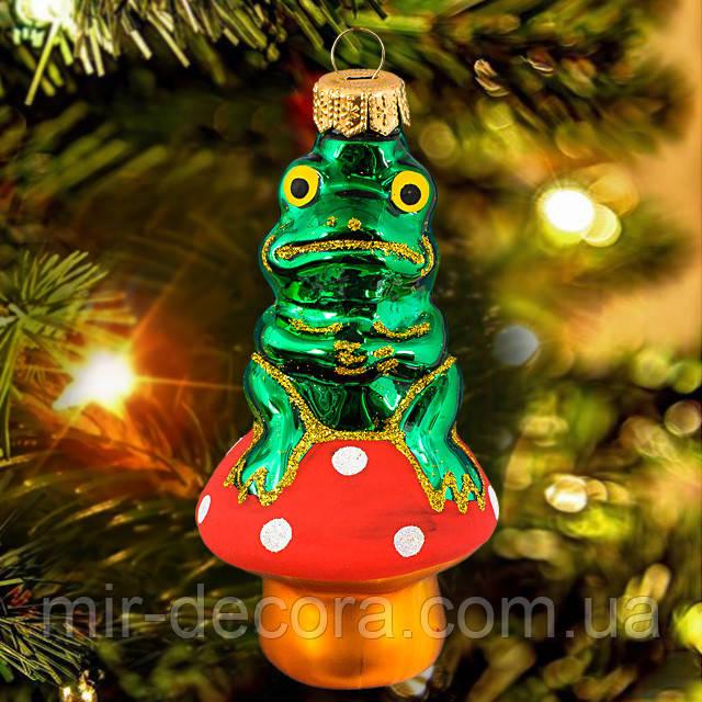 """Новогодний декор на елку """"Лягушка на грибе"""""""