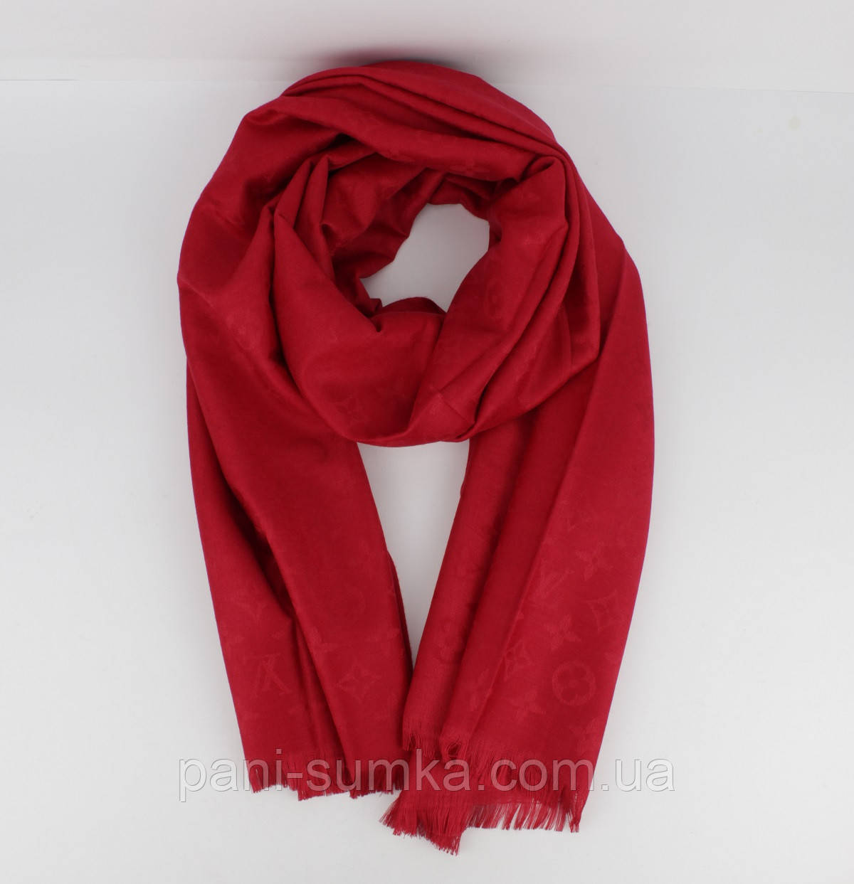 Кашемировый палантин Louis Vuitton 8881-24 красный двусторонний, фото 1 e75a4626df2