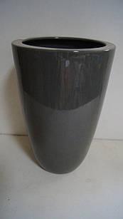 Горшок для цветов декоративный керамический серый высокий