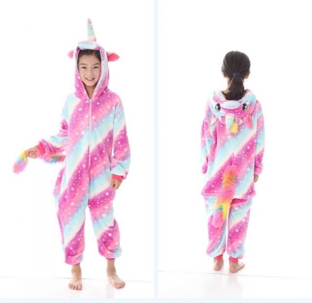 Пижама кигуруми для детей Единорог розово-голубой