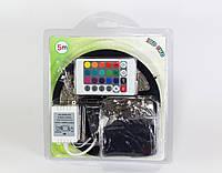 Комплект Світлодіодна лента 3528 RGB багатобарвна, 5м, 120 °, 12V, контролер з пультом, 300 світлодіодів
