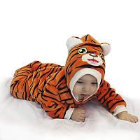 Комбинезон человечек теплый тигр пушистый на новый год выписку зверушки флис