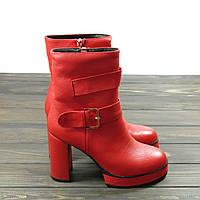 Красные ботинки на каблуке кожаные, фото 1