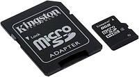 Карта памяти kingston microsd 8 Гб class 4 + sd адаптер (sdc4/8gb)