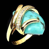 Кольцо с натуральной Бирюзой и фианитами