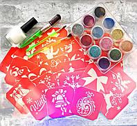 Набор трафаретов для тату блестками Зима (Новый год) 64 шт 6х6 см