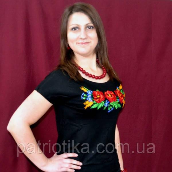 Жіноча футболка вишиванка мак патент | Жіноча футболка вишиванка мак патент