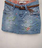 Джинсовая юбка с вышивкой на девочек 116,122,128 роста
