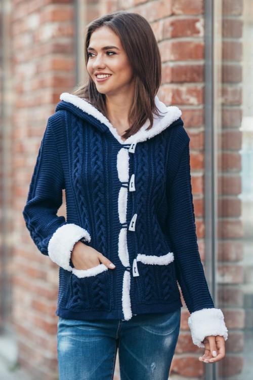303fb967ee6 Вязаная женская кофта с капюшоном «Надя» 4011 (синий)