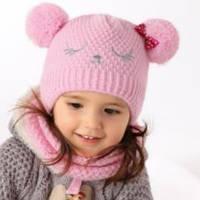 Комплект зимний Красивая мишка: шапка с шарфом-тубой для девочки (AJS, Польша)