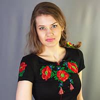 Женская футболка вышиванка маки крестиком   Жіноча футболка вишиванка маки хрестиком