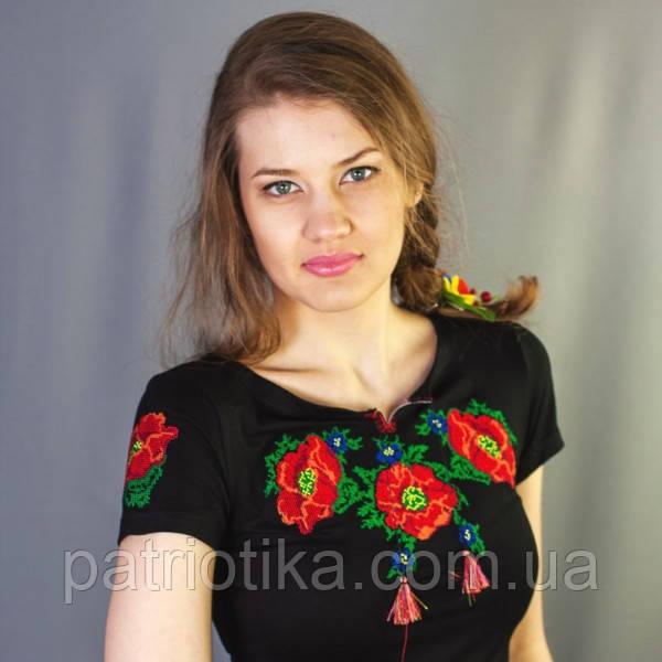 Женская футболка вышиванка маки крестиком | Жіноча футболка вишиванка маки хрестиком