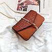Сумка женская клатч на цепочке Classik Feshen Коричневый, фото 2
