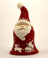 Колокольчик керамическая Дед Мороз 13см красный 107841