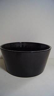 Горшок для цветов декоративный чёрный керамический