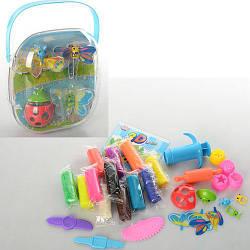 Тесто для лепки MK 0025 (24шт) 12цветов(в стиках),323г,инструм5шт,3Dформочки4шт,в чемод,15-16-9см