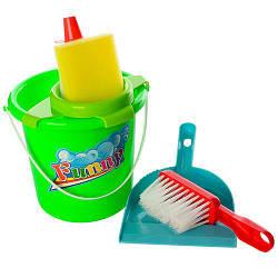 Набор для уборки 089 (48шт) ведро,совок,щетка,губка,моющ.ср-во, в сетке, 13,5-13,5-22 см