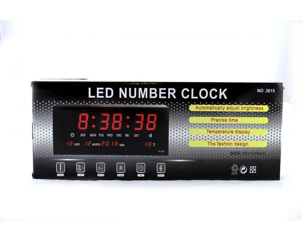 Годинники настінні світлодіодні електронні LED Number Clock 3615