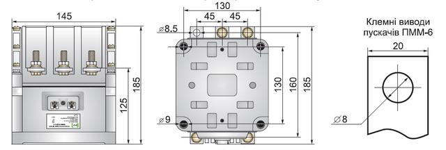 Габаритные размеры пускателя ПММ-66