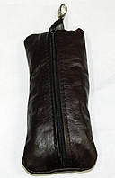 Кожаная черная мужская ключница кх 3, фото 1