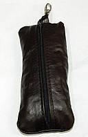 Кожаная черная мужская ключница кх 3 коричневая, фото 1