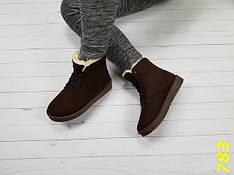 Женские зимние ботинки угги, Эко замш, коричневые, р.36,37,41