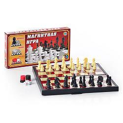 Шахматы 9831 S (48шт) 3 в 1 сред, в кор-ке, 25-13-3,5см