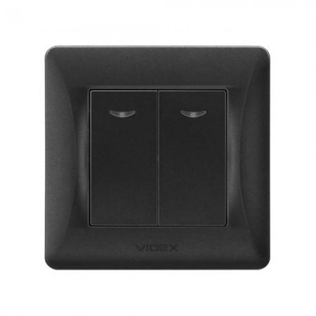 VIDEX BINERA Выключатель черный графит 2кл с подстветкой (VF-BNSW2L-BG) (20/120)