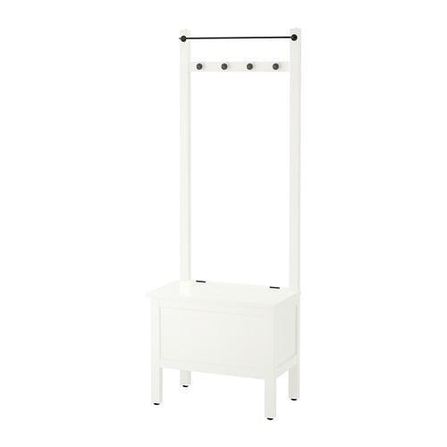 """IKEA """"ХЕМНЭС"""" Скамья с ящиком/штанга и 4 крючка, белый"""