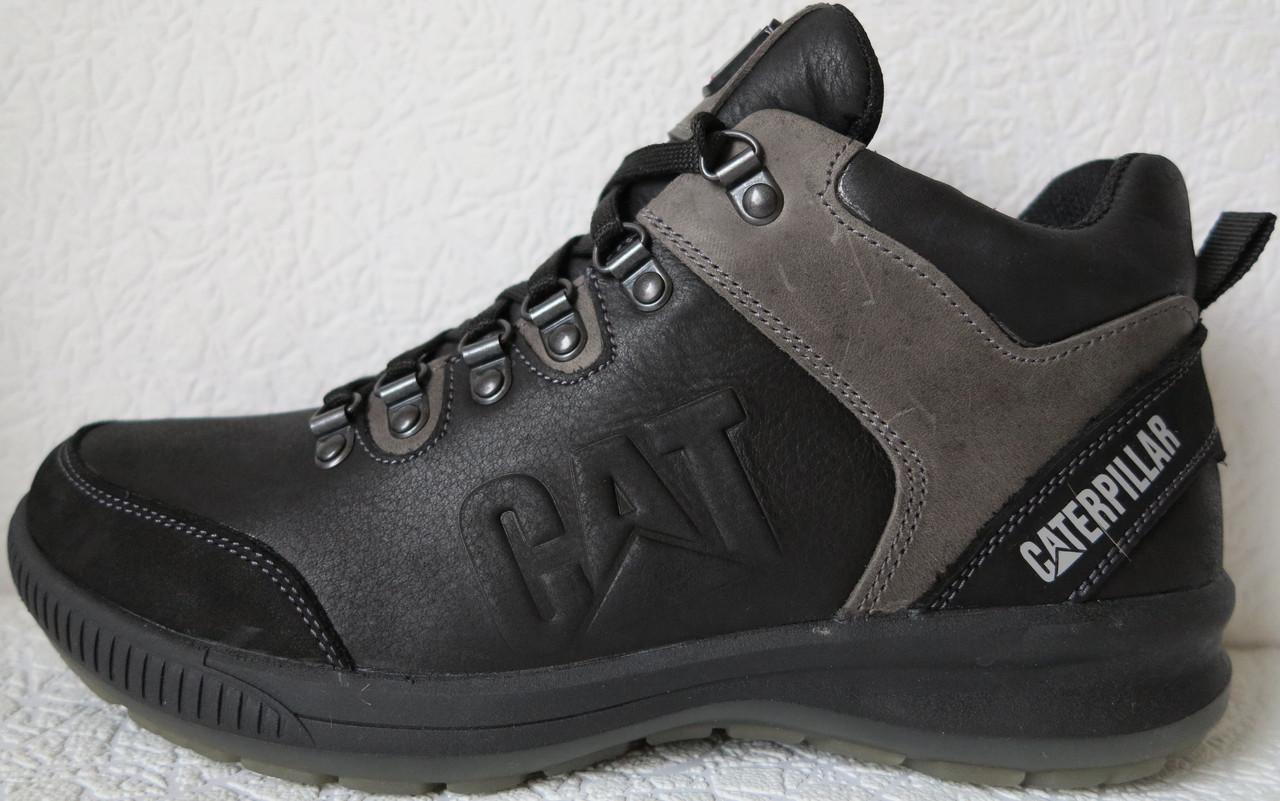 853db646d Зимние 2018-19! Кожаные мужские ботинки Caterpillar! Кроссовки черные с  мехом в стиле