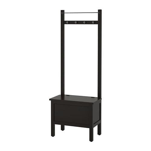 """IKEA """"ХЕМНЭС"""" Скамья с ящиком/штанга и 4 крючка, черно-коричневый"""