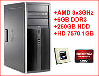 Игровой компьютер HP 6005, AMD Phenom II x3 3.0GHz, RAM 6ГБ, HDD 250ГБ, Radeon HD 7570 1GB DDR5