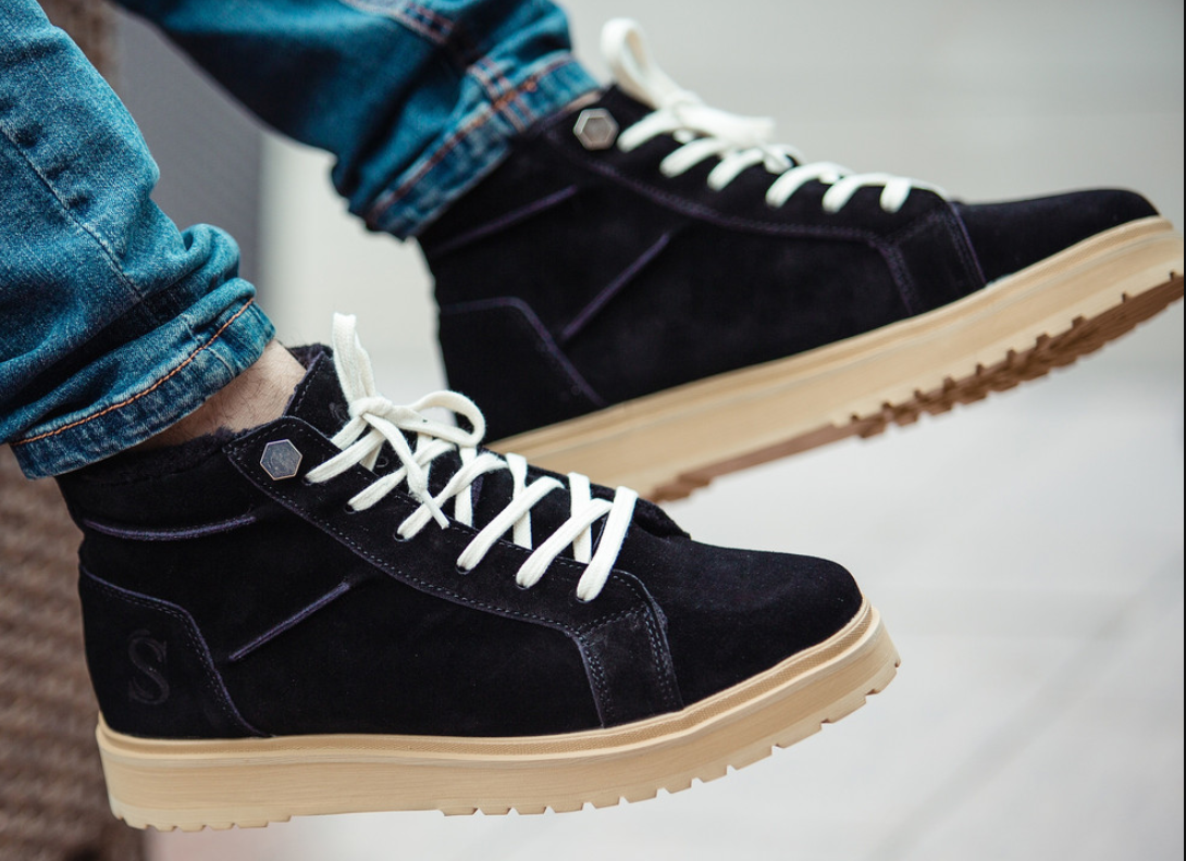 Ботинки Мужские Зимние South navy black чёрные, оригинал