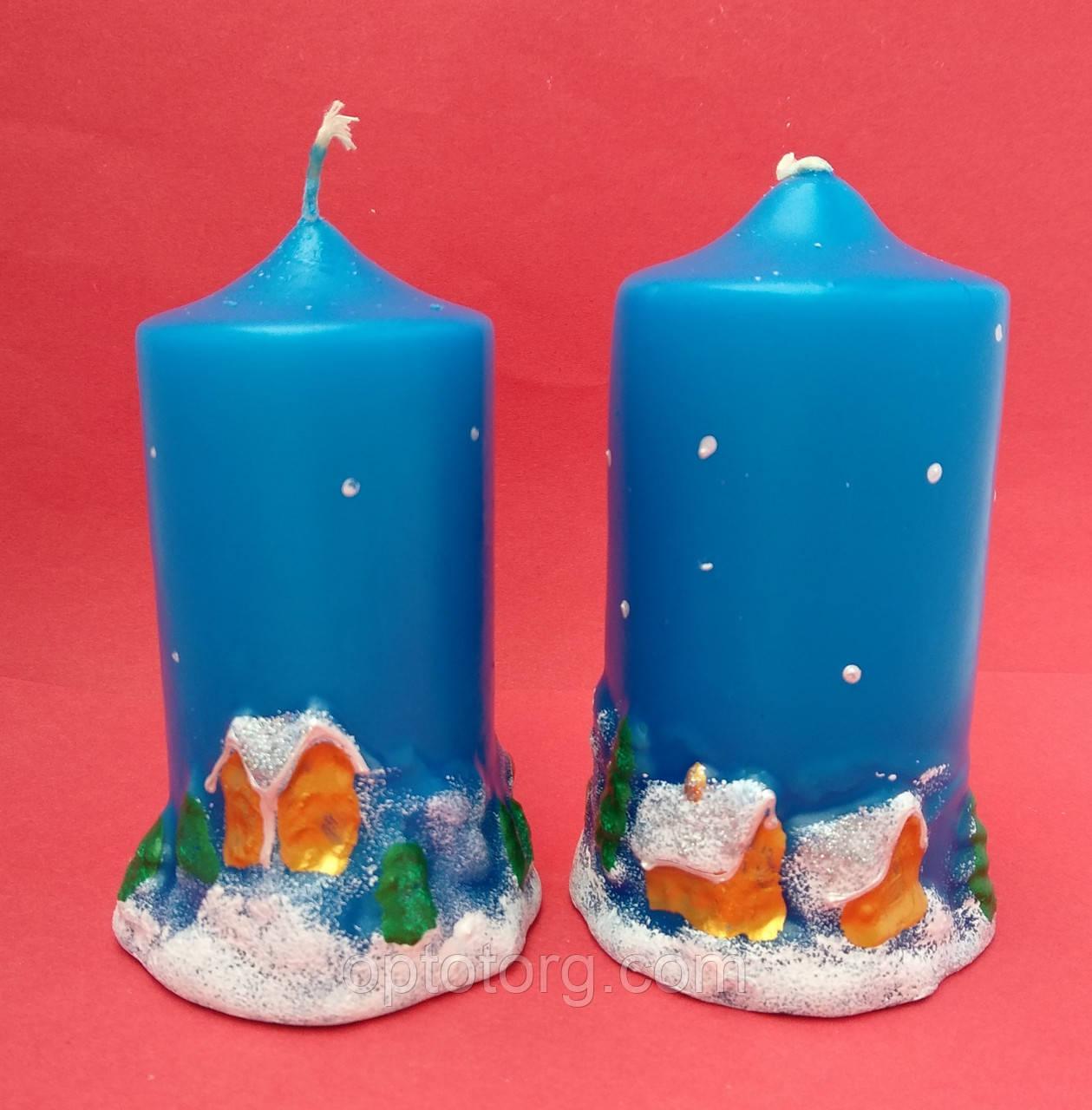 Свеча декоративная столбик Новый год  большая 10*6 см